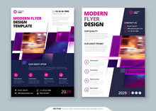 Purple Flyer Template Layout Design. Corporate Business Flyer Mockup. Creative Modern Bright Concept With Purple Square Shapes