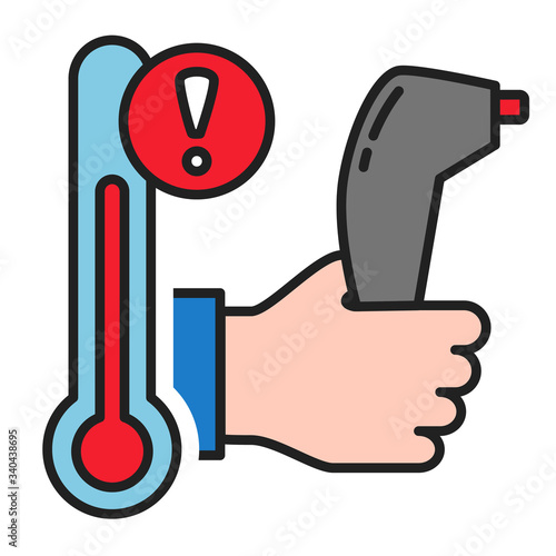 Forehead infrared thermometer fever icon #340438695