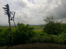 Railway Signal By Plants On Hill Against Cloudy Sky