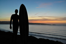 Silhouette Man With Surfboard ...