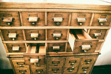 Empty Card Catalog Drawers In ...