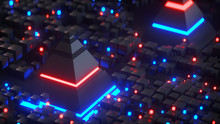 Pyramids And Glowing Cubes 3D ...