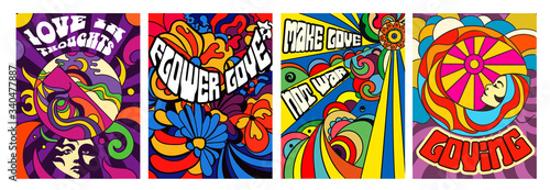 Photo Set of four bright psychedelic Love themed posters with modern abstract patterns