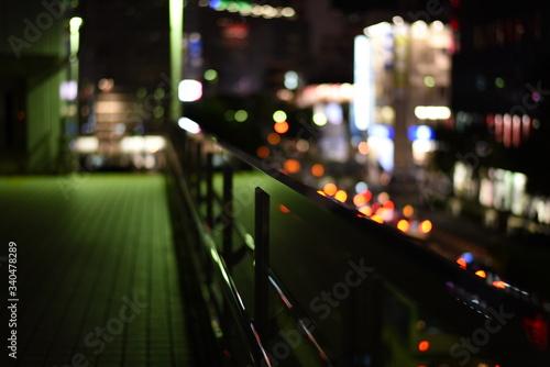 Canvas Print Illuminated Footbridge At Night