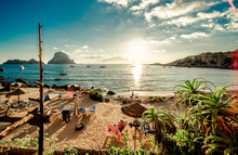 Scenic View Of Beach And Sea Against Sky At Ibiza Island