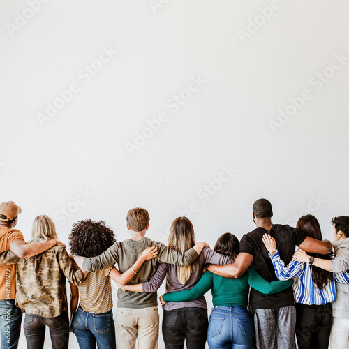 Group of people supporting each other Wallpaper Mural