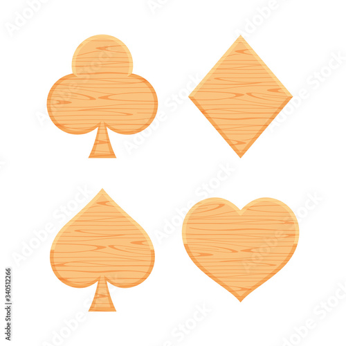 card suit icon wooden isolated on white background, symbol card clubs diamonds h Canvas Print
