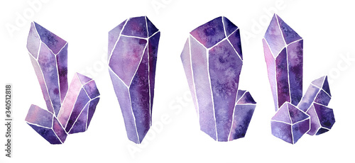 Valokuva Watercolor hand drawn illustration set of violet purple lavender gemstone cystals percious semiprecious minerals with facets