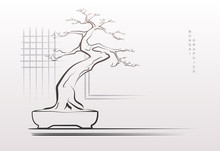 Stylized Bonsai Tree In Vector.