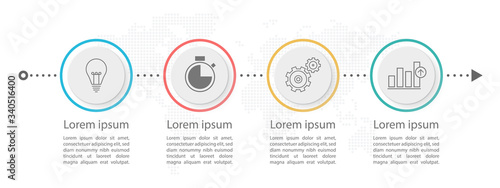 Cuadros en Lienzo Timeline circle infographic  template 4 options or steps.