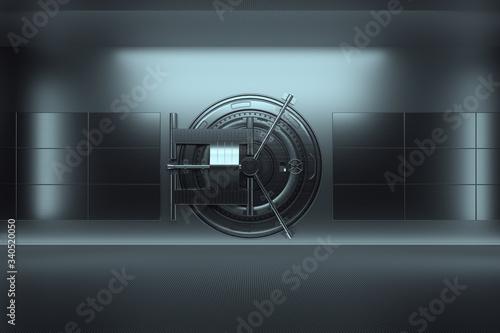 Fototapeta Bank vault door, large safe, sturdy metal. The concept of bank deposits, deposit, cells, good protection of savings. Copy space, 3D illustration, 3D render. obraz