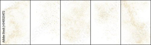 Fototapeta Set of Gold Glitter Texture Isolated on White Background. Golden stardust. Amber Particles Color. Sparkles Rain. Vector Illustration, Eps 10. obraz