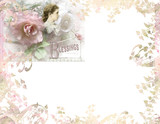 floral paper with pink rose white background