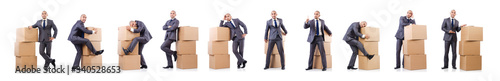 Fotografía Businessman with box isolated on the white