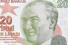 Close-up Portrait Of President Mustafa Kemal Ataturk, TL Or 20 Turkish Lira Banknotes