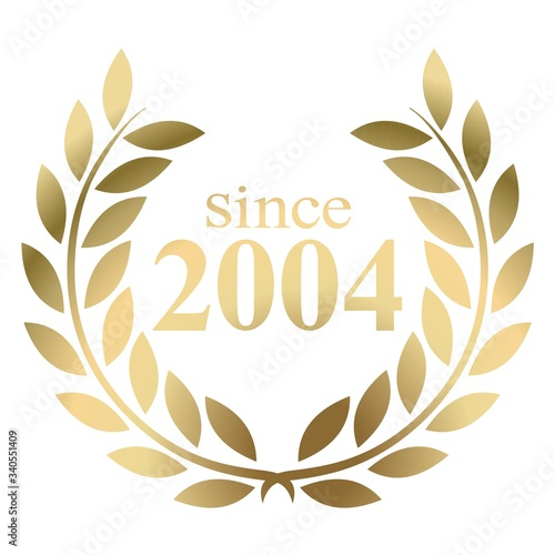 Papel de parede Year 2004 gold laurel wreath vector isolated on a white background
