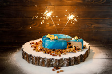 Blue Birthday Cake With Colorf...