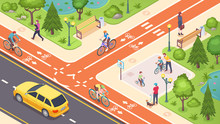 Bicycle Path And Bike Road Lan...