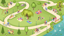 People In City Park, Family Re...