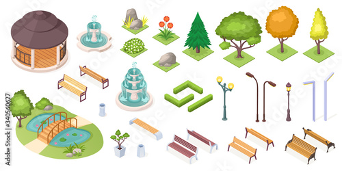 Photo Park trees and landscape elements set, vector isolated isometric icons