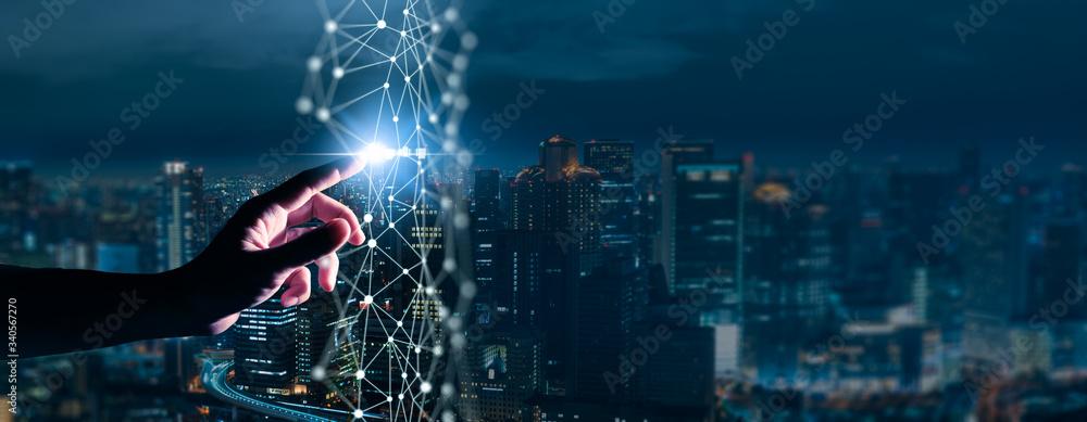 Fototapeta Digital transformation conceptual for next generation technology era