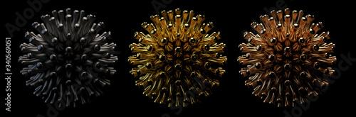 Photo 3d render metallic iron gold copper bacterial virus cells