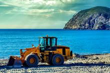 Wheel Loader Excavator On A Beach