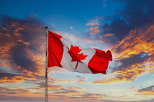 Red And White Canadian Flag Fl...