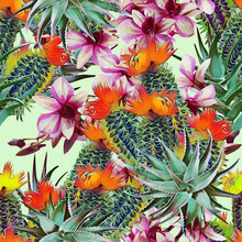 Cactus With Aloe Vera And Orchids, Seamless Pattern.