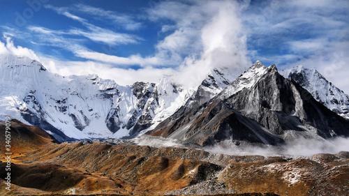 Himalaya mountains glaciers Himalayas hiking trail in autumn Nepal