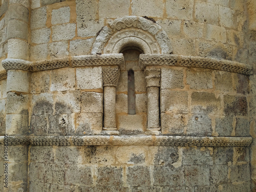 Apse of the medieval Romanesque Church of Campisabalos (13 Century) Canvas Print