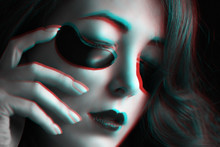 Anaglyph Effect Of Woman With ...