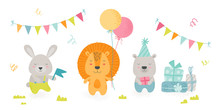 Cute Scandinavian Boho Style Teddy Animals Celebrate Happy Birthday Party. Kawaii Rabbit, Lion And Bear Holding Holidays Equipment Balloons, Gifts And Flag, Kids Design. Cartoon Vector Illustration