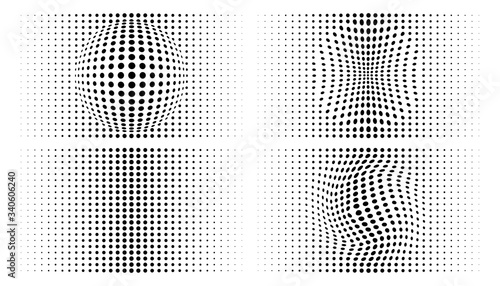 Obraz na plátně Set of halftone convex distorted gradient circle dots backgrounds