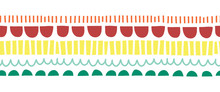 Seamless Horizontal Vector Border Abstract Doodle Shapes. Repeating Childish Pattern With Wonky Arcs And Stripes Teal Red Yellow. Abstract Border For Kids Decor, Card, Birthday Invite, Children Decor