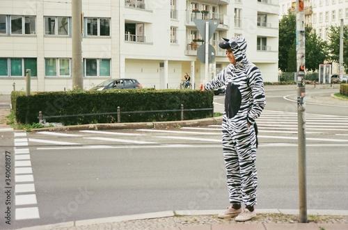 Full Length Of Man In Zebra Costume Hitchhiking In City Fotobehang