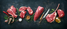 Variety Of Raw Beef Meat Steak...