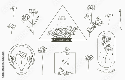 Photo Black flower logo collection with leaves,geometric