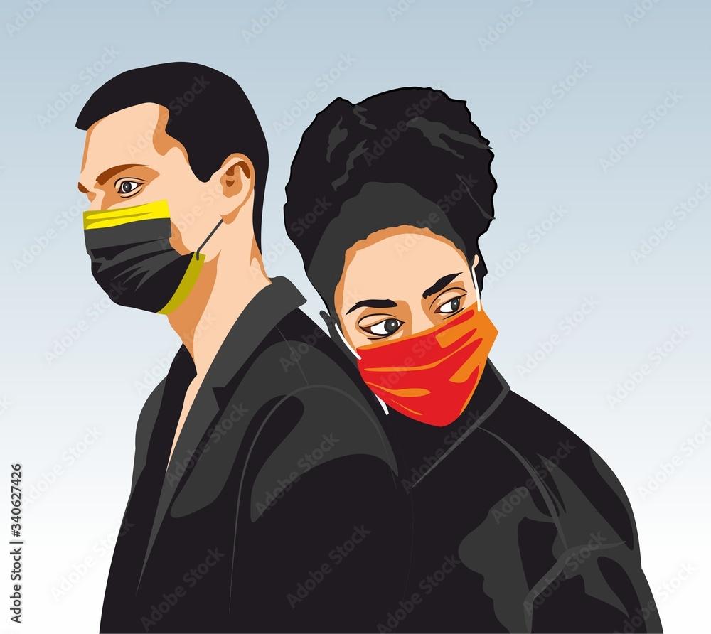 Fototapeta Nosić maski, ludzie w maskach - wektor - Covid 19 - koronawirus 2020
