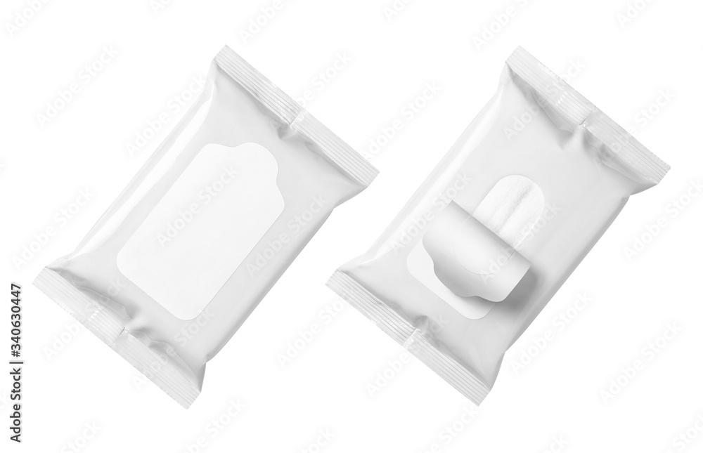 Fototapeta Blank wet wipes flow packs, isolated on white background