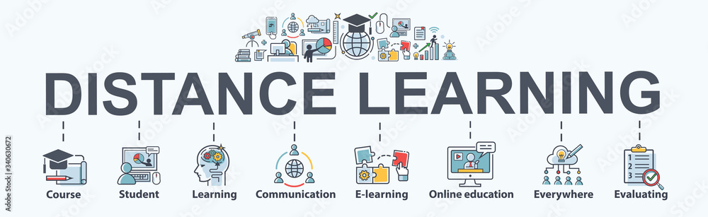 Fototapeta Distance learning banner web icon for self development, course, teacher, study, e-learning, training, skill, online education, continuing education and knowledge. Minimal vector infographic.