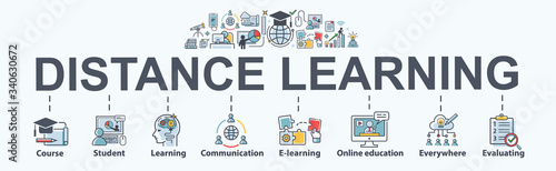 Distance learning banner web icon for self development, course, teacher, study, e-learning, training, skill, online education, continuing education and knowledge. Minimal vector infographic.