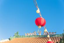 Bright Red Lanterns Hanging De...