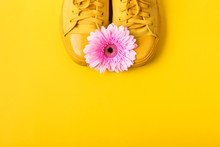 Pair Of Yellow Sneakers And Pink Gerbera Flower On Yellow Background. Spring Summer Fashion Concept