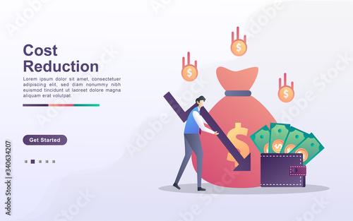 Obraz na plátně Cost Reduction illustration concept with tiny people