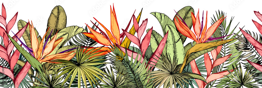 Fototapeta Seamless border with tropical palm leaves, exotic heliconia and strelitzia flowers.