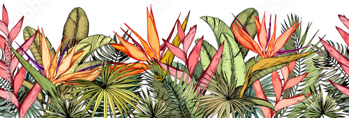 Seamless border with tropical palm leaves, exotic heliconia and strelitzia flowers Fototapet