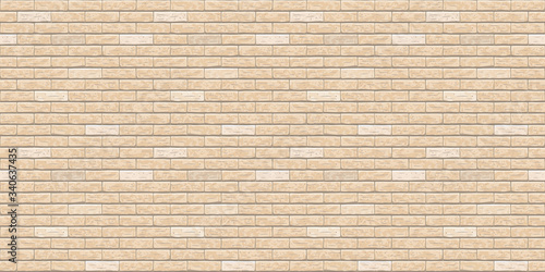 Cuadros en Lienzo Brick wall beige, light seamless pattern background