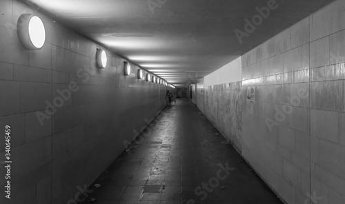 Obraz Interior Of Illuminated Underground Walkway - fototapety do salonu