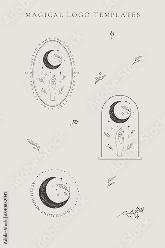 abstract hand drawn crescent moon logo set with stars, hand, flower and leaves Fototapet
